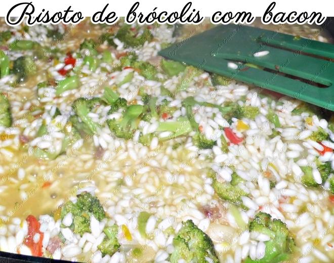 risoto de brócolis com bacon