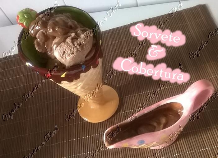sorvete e cobertura de chocolate